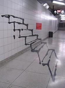 Graffiti schody optický klam