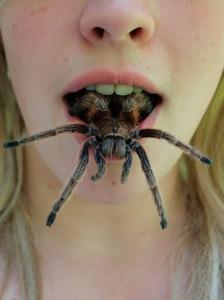 Pavouk v ústech ženy