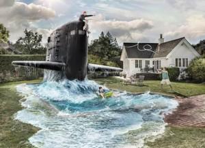 Ponorka na zahradě