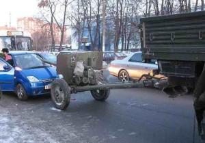 Převoz děla nedopadl dobře