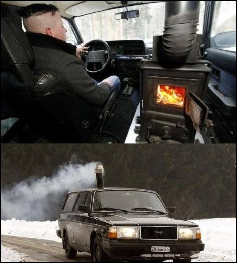 Zajímavé topení v autě
